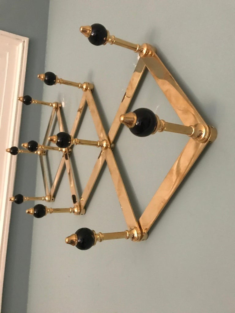 Lacquered Azucena Coat Hanger in Brass with Lacquerd Wooden Knobs For Sale