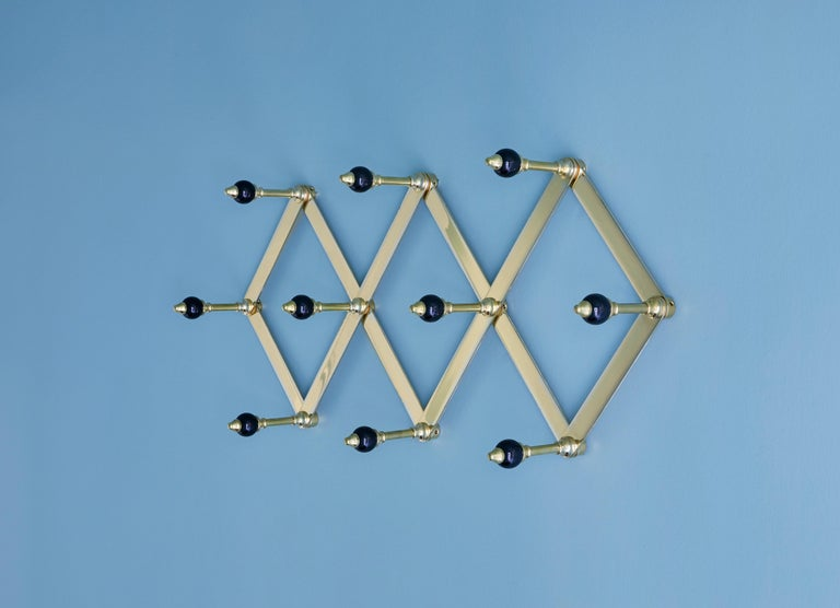 Azucena Coat Hanger in Brass with Lacquerd Wooden Knobs For Sale