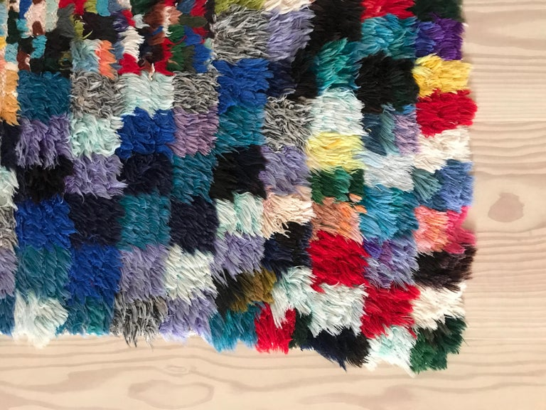 Beautiful multi-colored Boucherouite rug.