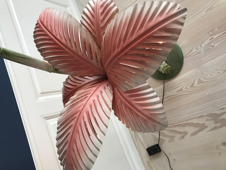 Painted Amazing French Vintage Palm Tree Floor Lamp For Sale