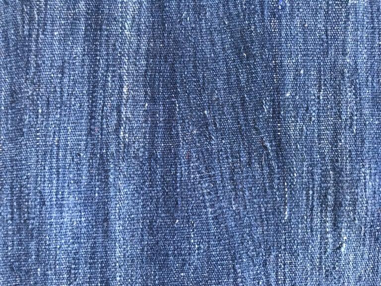 Turkish Contemporary Indigo Blue Anatolian Kilim For Sale