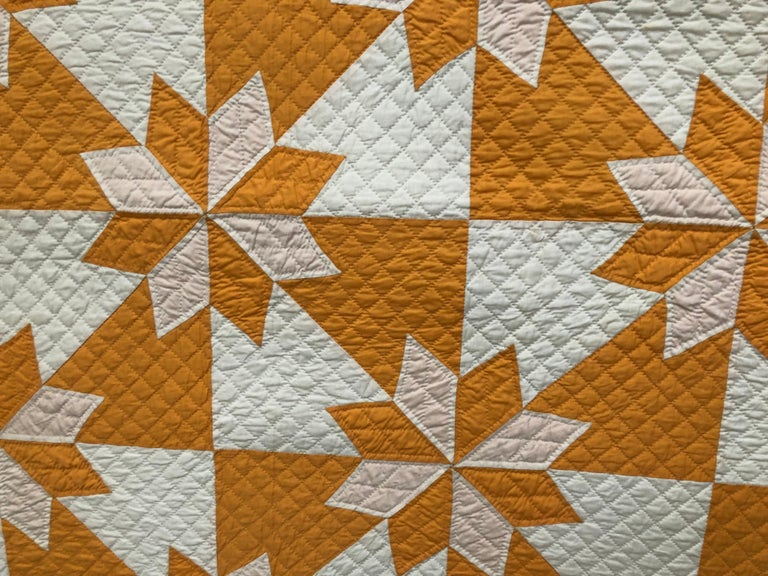 American Vintage Yellow Quilt For Sale