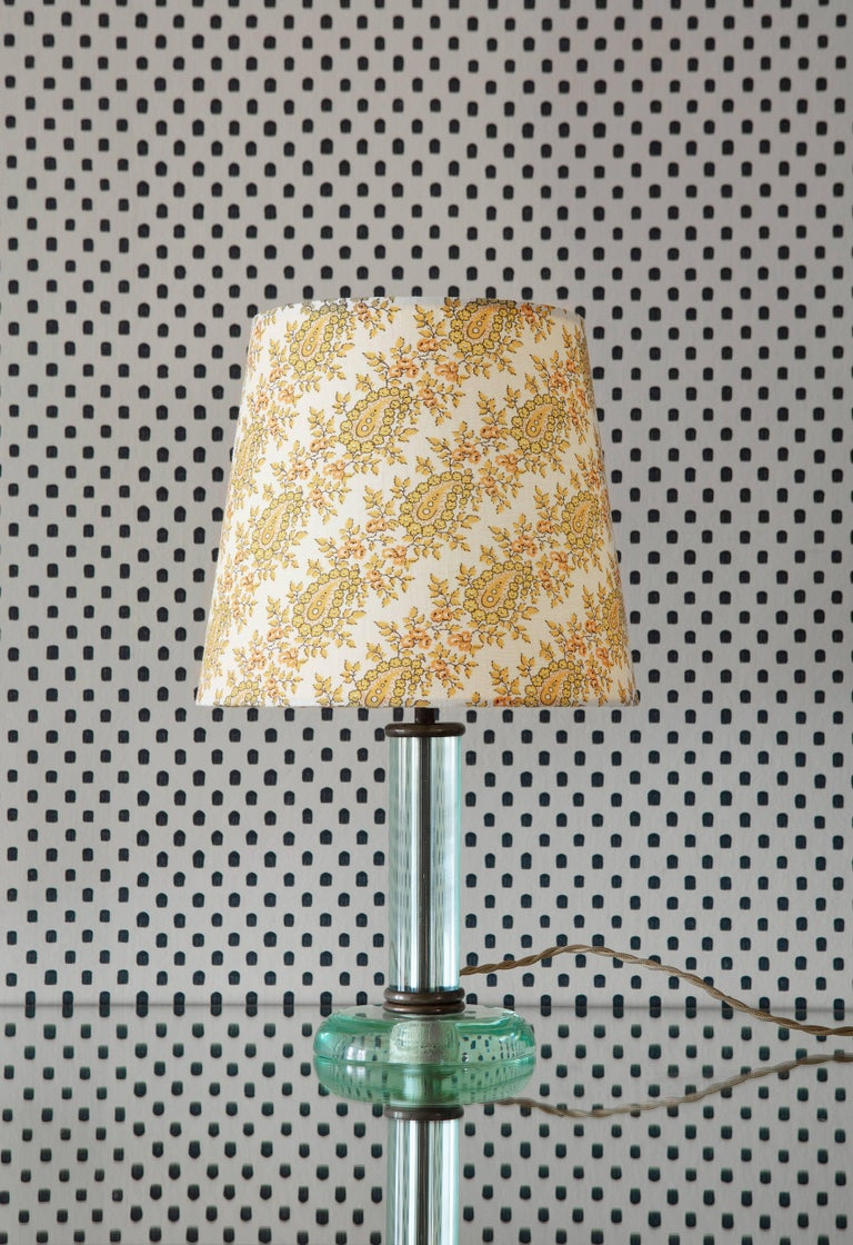 Lovely Fontana Arte table lamp in glass with brass fitting. New lamp shade in African textile.