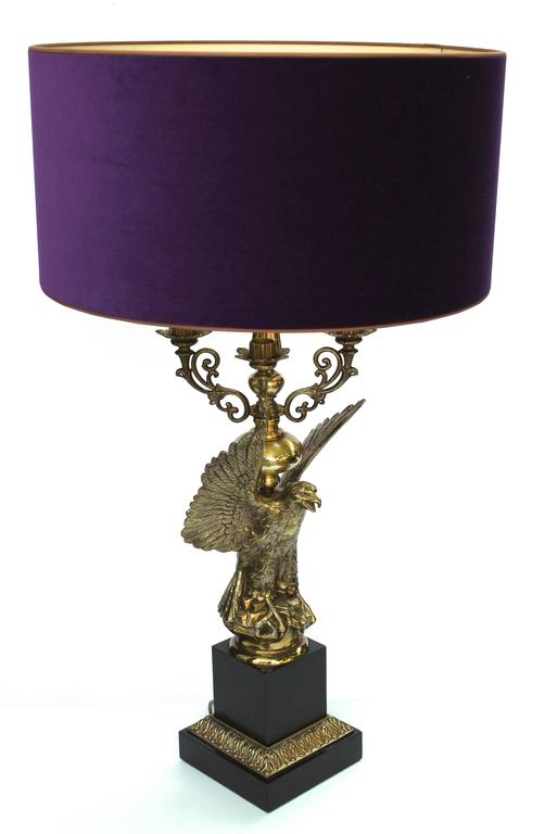 Eagle Table Lamp, Designed By Jaques Charles In Gild Patinated Bronze,  Paris, 1970s