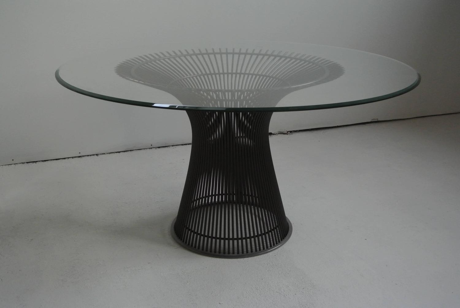 Bronze dining table by warren platner at 1stdibs for 52 glass table top
