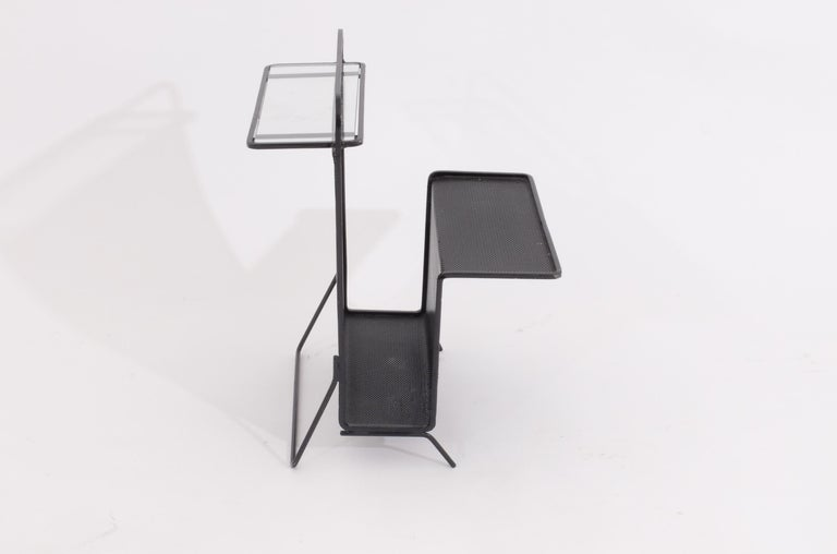 French Mathieu Matégot Table Magazine Holder Ateliers Mategot, Referenced, End Table  For Sale