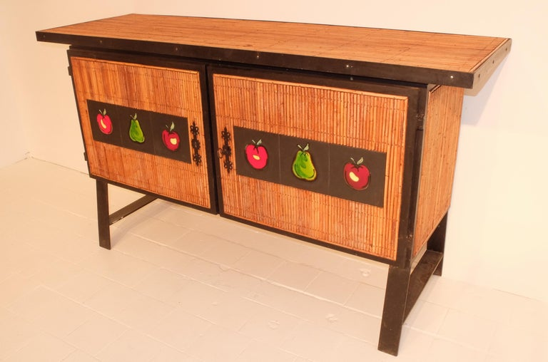 Other Colette Gueden French Buffet Cabinet Credenza Bamboo Le Printemps Primavera For Sale
