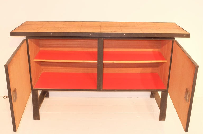 Mid-20th Century Colette Gueden French Buffet Cabinet Credenza Bamboo Le Printemps Primavera For Sale