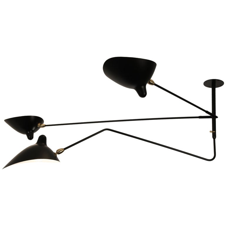 Serge Mouille Ceiling Lamp with Three Arms, One Rotating and Two Fixed For Sale
