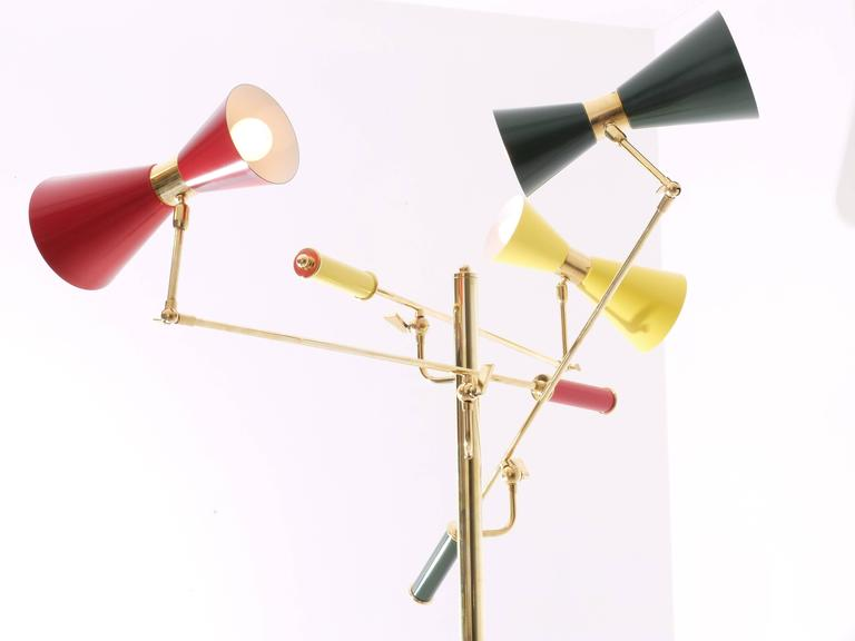 Lacquered Arredoluce Brass 'Triennale' Floor Lamp For Sale