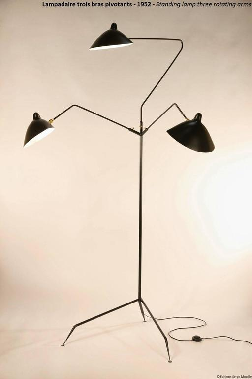 The serge mouille three arm floor lamp or lampadaire 3 Serge mouille three arm floor lamp