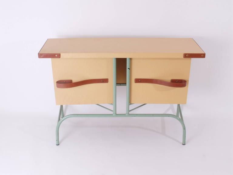 Jacques Adnet Console with Pivoting Drawers 2