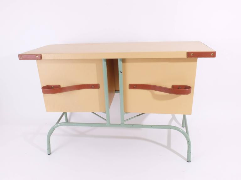 Mid-20th Century Jacques Adnet Console with Pivoting Drawers For Sale