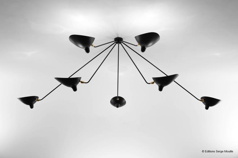 Ceiling Spider Lamp with Seven Fixed Arms by Les Editions, Serge Mouille In Excellent Condition For Sale In London, GB