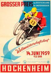 Original Vintage Motorcycle Racing Poster - 1959 German Grand Prix - Hockenheim