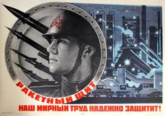 Original Soviet Propaganda Poster Rocket Shield Will Protect Our Peaceful Labour