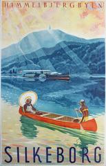 Original 1920s Travel Advertising Poster For Silkeborg Denmark - Himmelbjergby