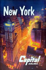Original Vintage Travel Advertising Poster For New York By Capital Airlines