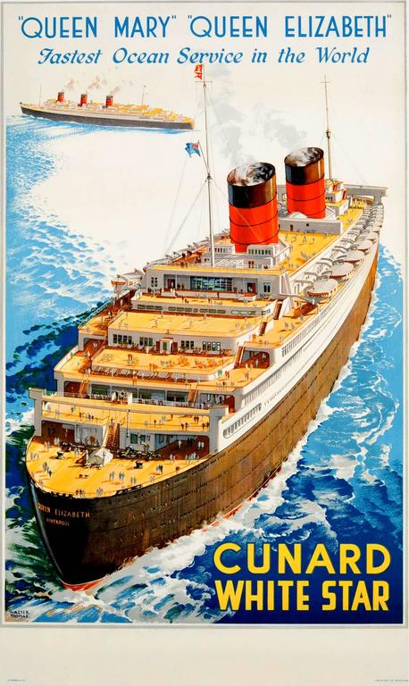 Original S Shipping Poster Cunard Queen Mary And Queen - 1930s cruise ships