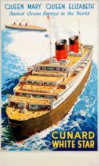 Original 1930s Shipping Poster: Cunard Queen Mary & Queen Elizabeth Ocean Liners