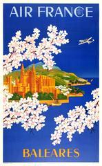 Original Vintage Air France Advertising Poster For Baleares - Balearic Islands