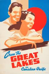 Original 1920s Travel Advertising Poster: Cross The Great Lakes Canadian Pacific