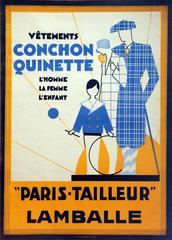 Large Original Vintage 1920s Fashion Advertising Poster: Conchon Quinette France