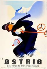 Original Vintage Austria Skiing Poster - Ostrig Det Forende Vintersportsland