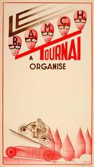 Original Vintage Art Deco RAMCH Tournai Car And Motorcycle Racing Event Poster