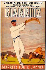 Original Vintage Chemin De Fer Du Nord French Railway Poster For Biarritz France