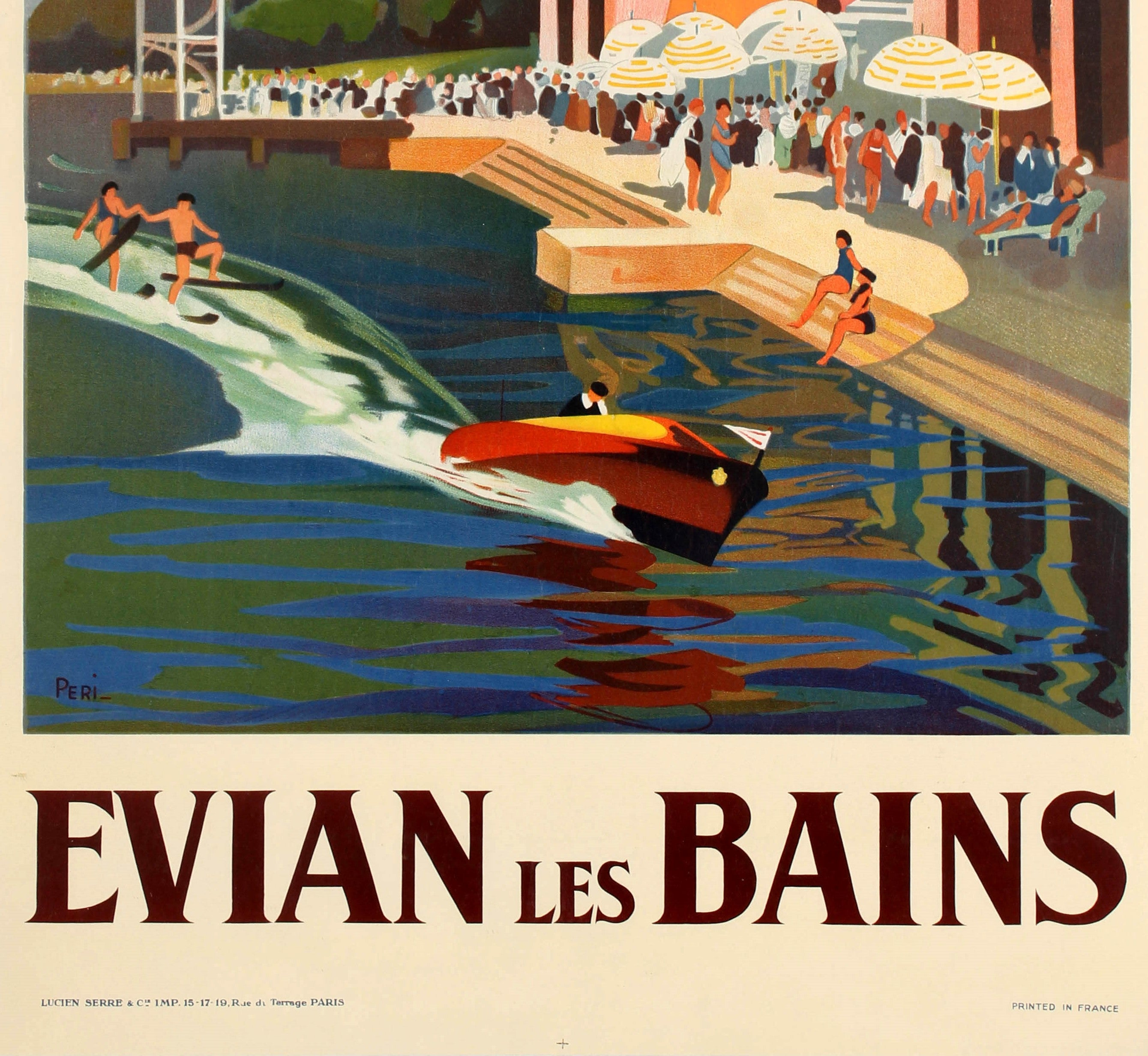 FRANCE VINTAGE TRAVEL POSTER Evian les Bains RARE NEW