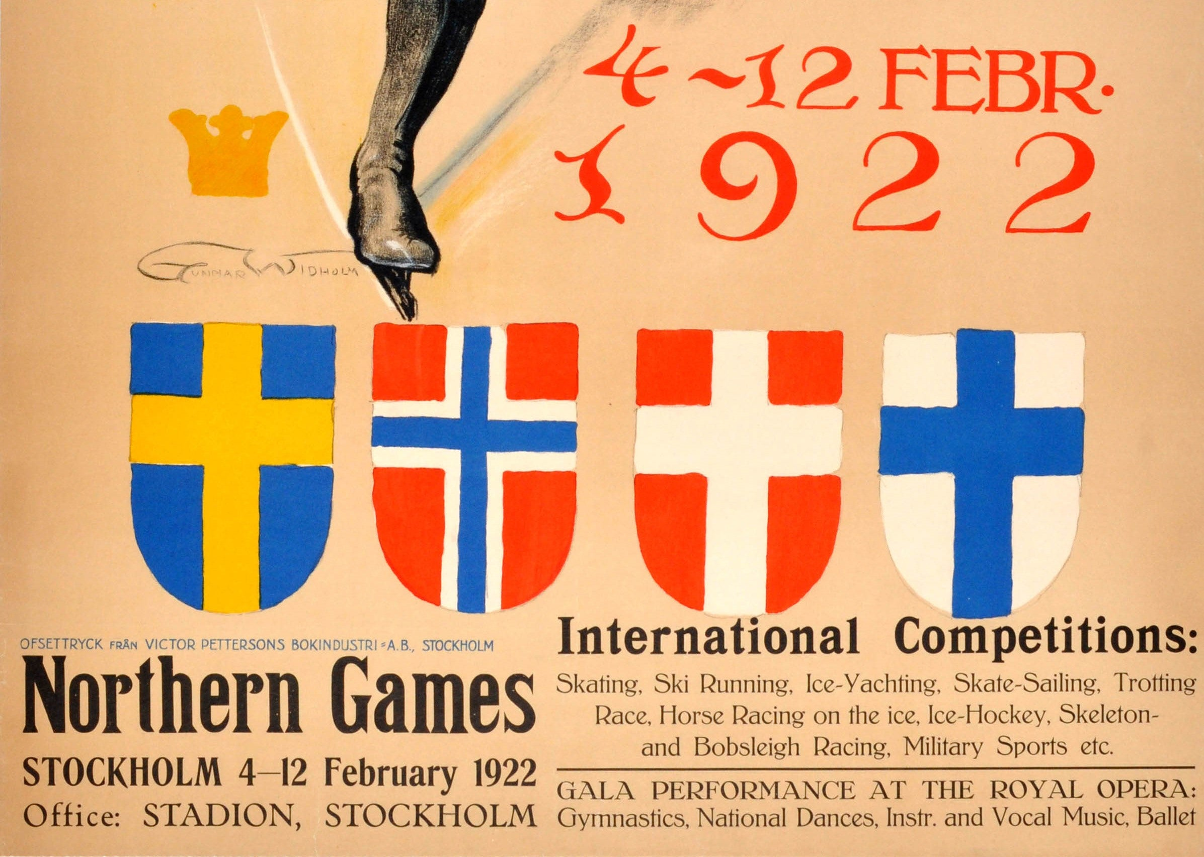 Vintage Ski Posters THE 1922 NORTHERN GAMES SWEDEN Art Deco Travel Print