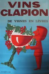 Large Original 1960s Wine Advertising Poster: Vins Clapion De Vignes En Levres