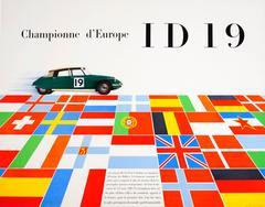 Original Vintage Car Racing Poster For The European Championships: Citroen ID19