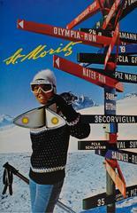 Original Vintage 1970 Skiing Poster For St Moritz Switzerland Featuring A Skier