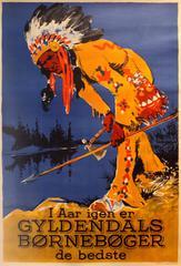 Original Vintage 1930s Danish Advertising Poster For Gyldendals Children's Books