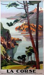 Original Vintage 1920s Travel Advertising Poster For La Corse - Corsica - Italy
