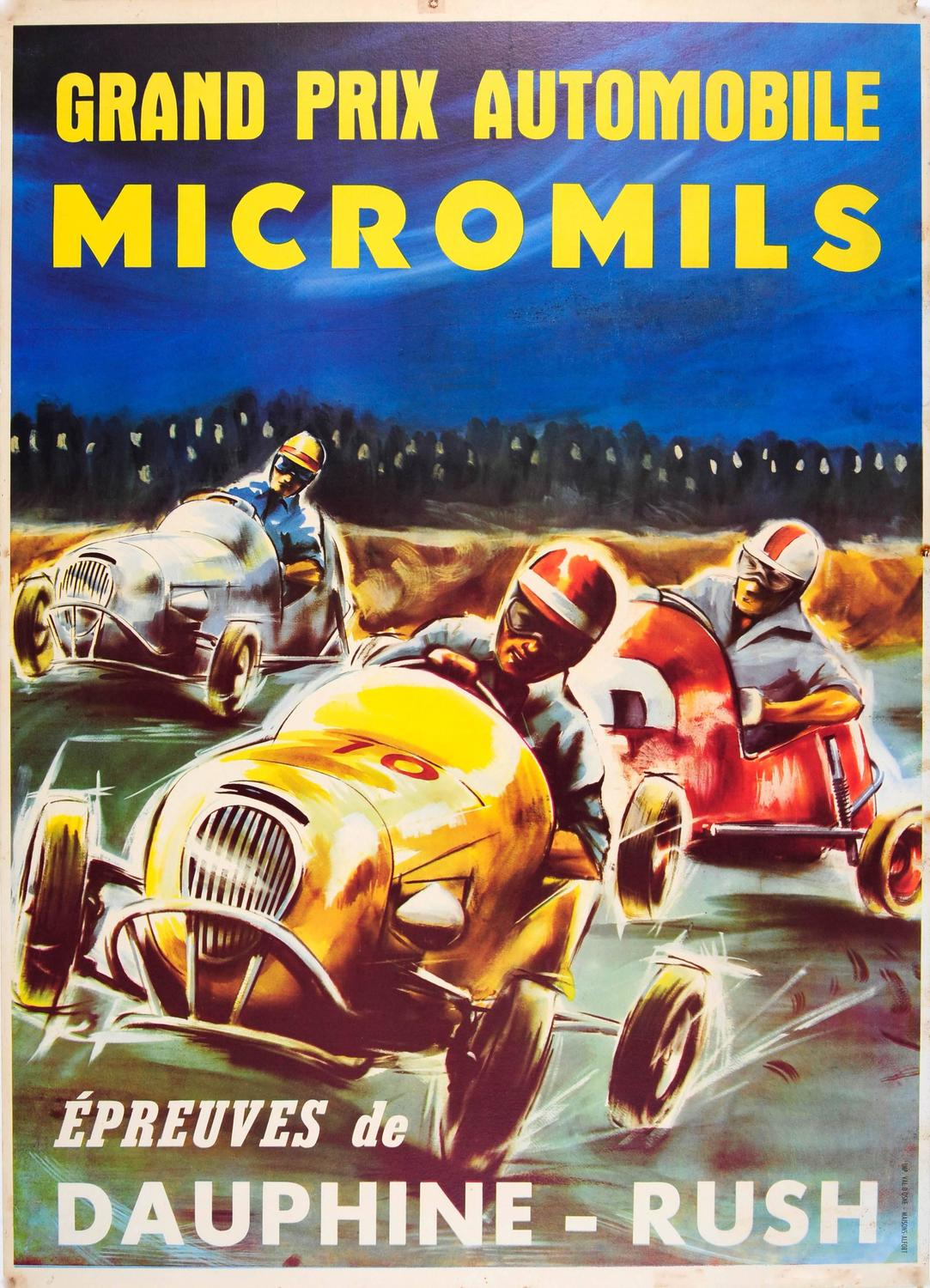 Original Vintage Sports Car Racing Poster For Grand Prix Automobile  Micromils At 1stdibs