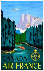 Original Vintage 1951 Travel Advertising Poster For Canada By Air France