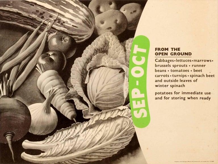 Set of six original vintage World War Two food propaganda posters - From The Open Ground and From Store - featuring different vegetables for every season of the year with the months against a green title background: January-February (leeks,