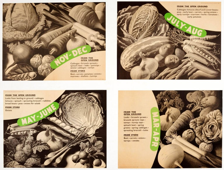 British Set of Six Original World War Two Food Posters - Vegetables from the Open Ground For Sale