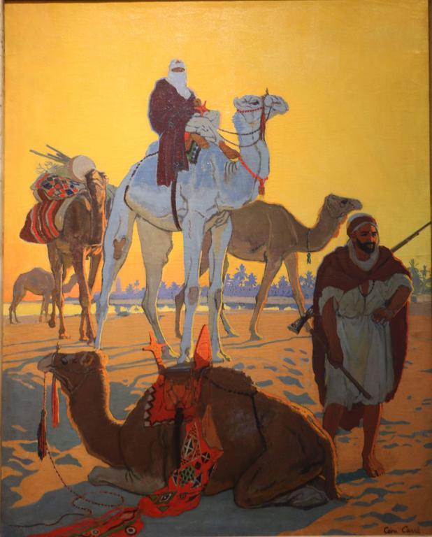"""Exceptional Oil Painting """"Les Touaregs"""" by Léon Carré, France, Art Deco, 1921 2"""