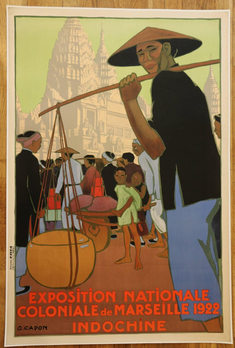 Poster for the 1922 Marseille Colonial Show by Georges Capon, Art Deco, France For Sale 1