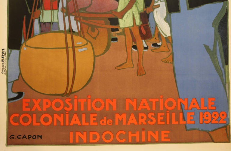 Paper Poster for the 1922 Marseille Colonial Show by Georges Capon, Art Deco, France For Sale