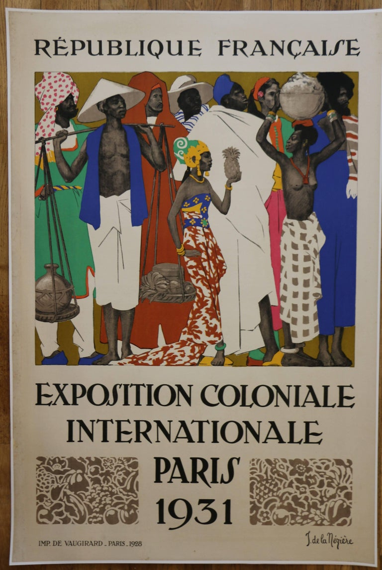 Mid-20th Century Rare Lithographic Poster by De La Mézière for the 1931 Paris Colonial Exhibition For Sale