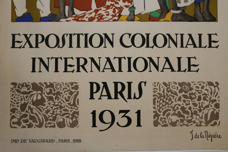 Rare Lithographic Poster by De La Mézière for the 1931 Paris Colonial Exhibition In Good Condition For Sale In Paris, FR