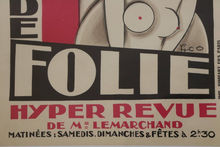 Early 20th Century Original and Rare Lithographic Poster by Pico, Art Deco, France, 1920s For Sale