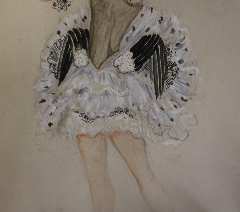 Watercolor by Nathalie Gontcharova, Ballet Costume, France, Art Deco, 1920s In Good Condition For Sale In Paris, FR