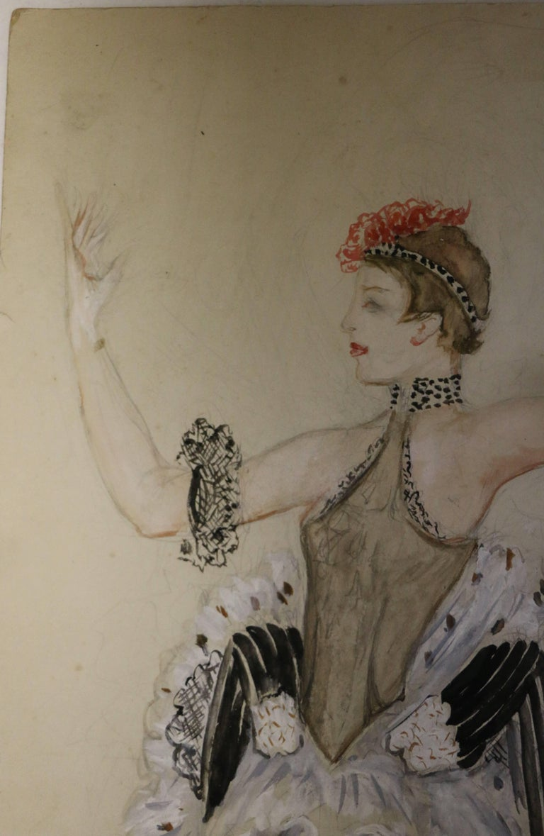 Beautiful watercolor by Nathalie Gontcharova (1881-1962) representing a ballet costume. Watercolor with black pen. Signed bottom left. Belonged to Jeanne Schwarz (1887-1970) and Solange Schwarz (1910-2000) who were principal ballet dancers at the