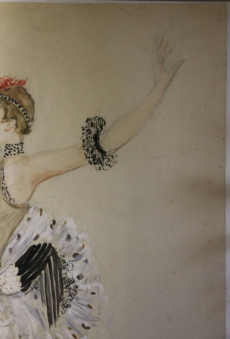 French Watercolor by Nathalie Gontcharova, Ballet Costume, France, Art Deco, 1920s For Sale